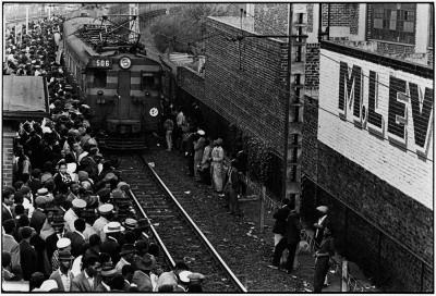 Ernest Cole, Africans throng Johannesburg station platform during late afternoon rush., 1960–1966; gelatin silver print; 8 11/16 x 12 5/8 in. (22 x 32 cm); Courtesy of the Hasselblad Foundation, Gothenburg, Sweden; © The Ernest Cole Family Trust