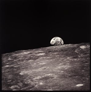 Earthrise Seen for the First Time By Human Eyes. Taken by William Anders in 1968. Printed in 1999 for the series Full Moon by Michael Light.