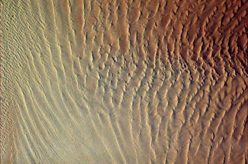 Sands of Namibia, a rippling texture of stark beauty from space.