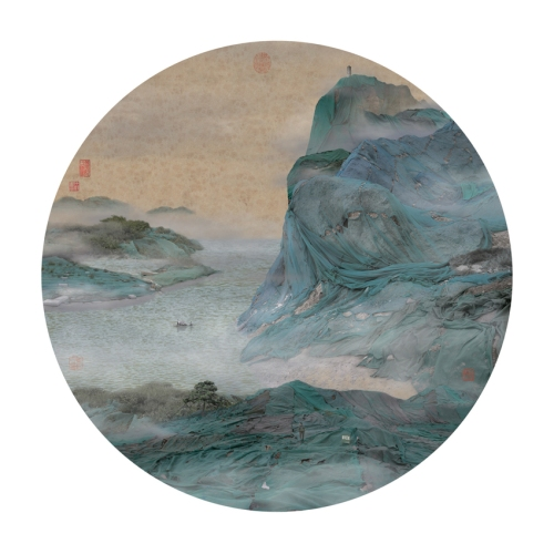 Yao Lu, New Landscape, Part I-V, Clear Cliff Shrouded in Floating Clouds, 2007