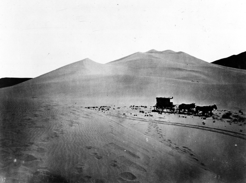 Sand dunes on the east of side of the Truckee Desert in Nevada. Photo by T.H. O'Sullivan. U.S. Geological Exploration of the Fortieth Parallel (King Survey).