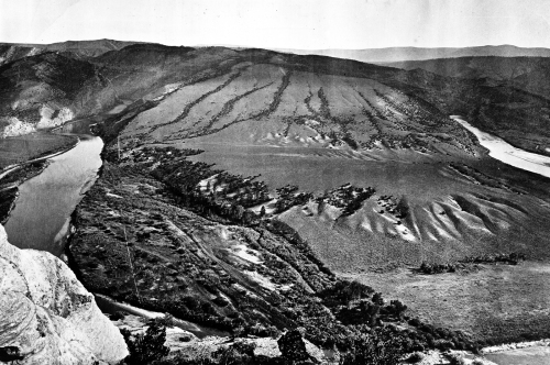 Green River Canyons: Upper Canyon, Great Bend, Uinta Mountains, Horseshoe Bend, and Green River below the bend, viewed from Flaming Gorge Ridge. Photo by T.H. O'Sullivan. Geological Exploration of the Fortieth Parallel (King Survey).