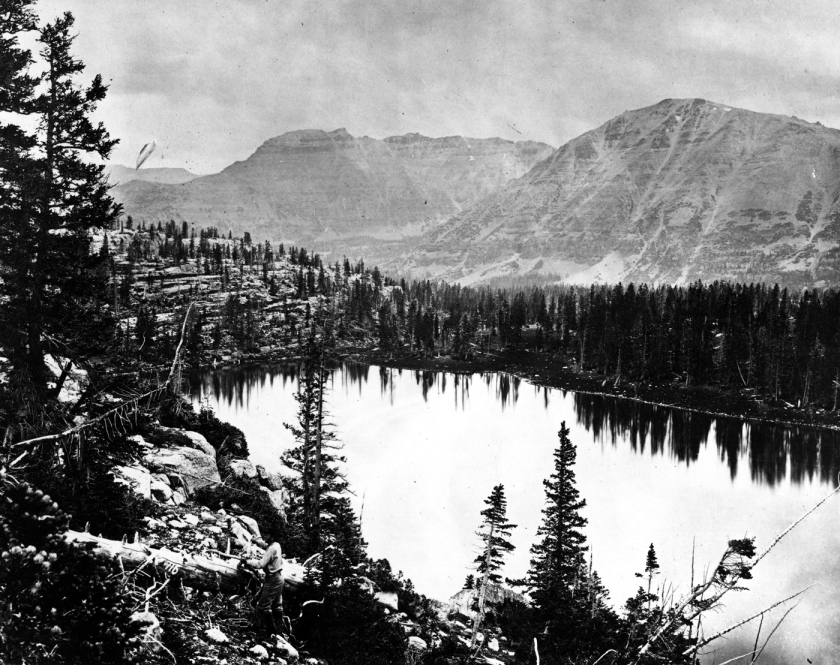 Glacial lake in the summit region of the Uinta Mountains of Utah. Photo by T.H. O'Sullivan. U.S. Geological Exploration of the Fortieth Parallel (King Survey).