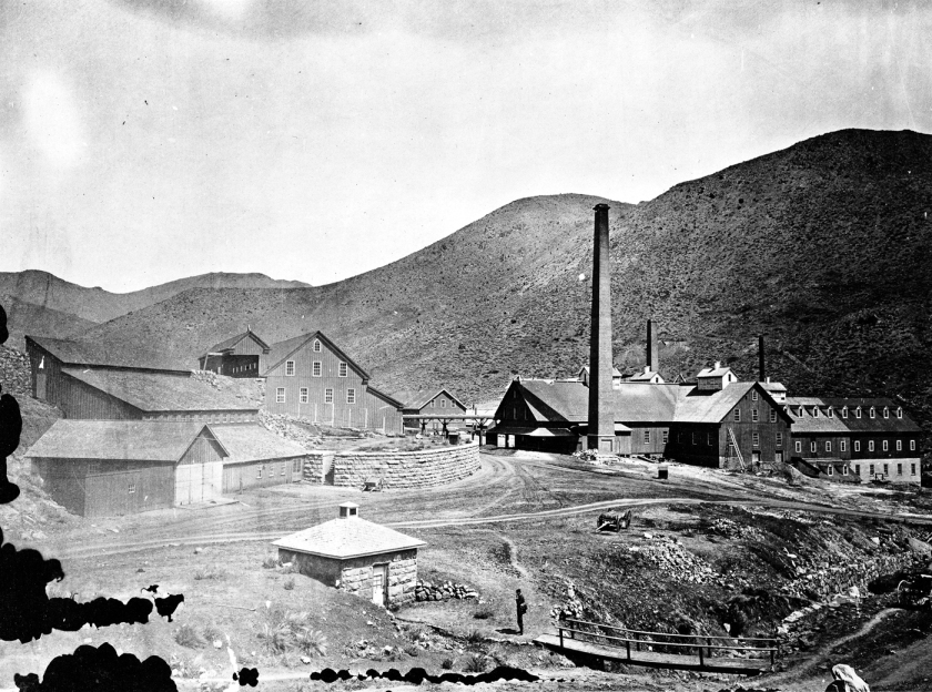 Quartz mill near Virginia City, Nevada. Photo by T.H. O'Sullivan. U.S. Geological Exploration of the Fortieth Parallel (King Survey).