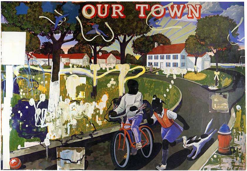"""Kerry James Marshall """"Our Town,"""" 1995"""