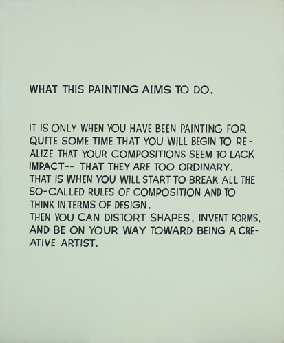 John Baldessari. What This Painting Aims to Do, 1967