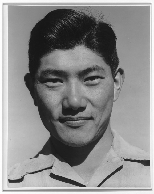 Ansel Adams. Manzanar Relocation Center, California. Harry Hanawa, mechanic.