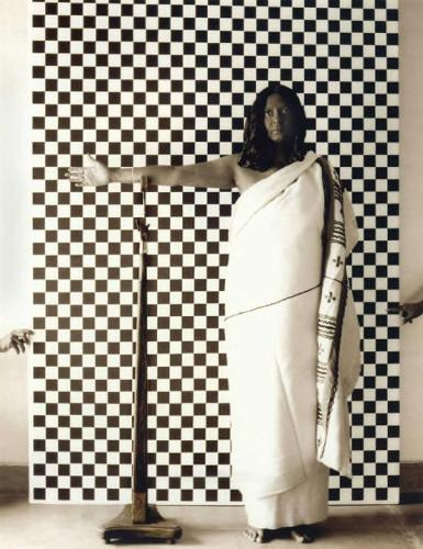 Pushpamala N. Toda (after late 19th century British anthropometric photograph). From the photo-performance project Native Women of South India: Manners and Customs , 2000-2004.