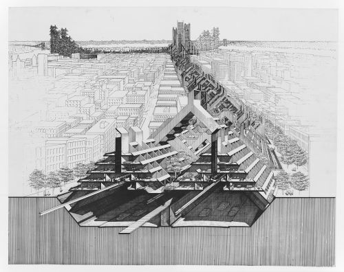 Paul Rudolph. Lower Manhattan Expressway, New York City. Bird's-eye perspective section. Rendering. 1970