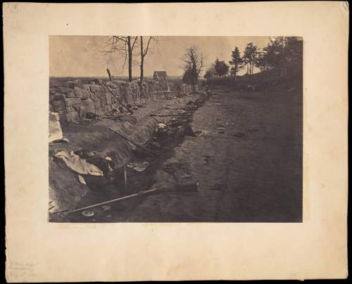 Andrew J. Russell. . Behind Stone Wall, Marye's Heights, Fredericksburg, Virginia, May 3, 1863.