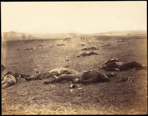 Timothy H. O'Sullivan Battle-Field of Gettysburg. View on the Field after Fight of First Day., July 4, 1863