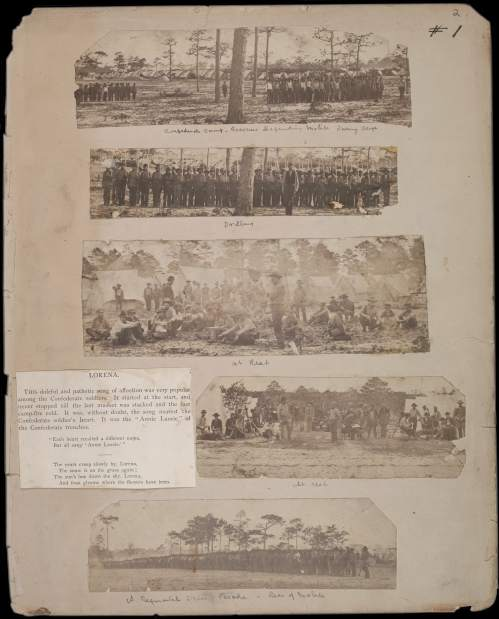 Jay Dearborn Edwards. Scrapbook 2, page 2 - Photographs by J.D. Edwards depicting Confederate soldiers drilling and at rest near Pensacola, Florida, and environs, c. 1861.