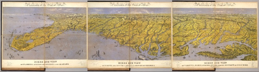 Panorama of the Seat of War. Birds Eye View (from) Virginia (to) Florida. John Bachmann. New York: 1861