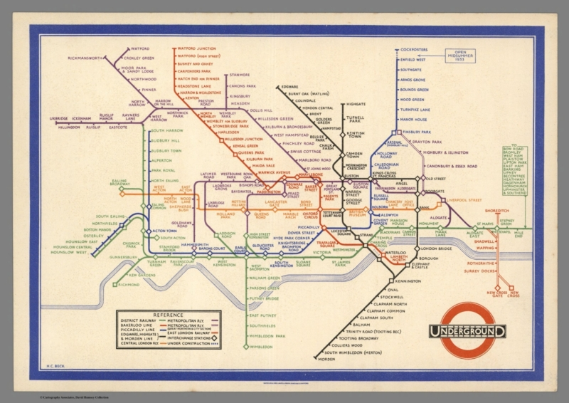 Underground, in Map of London's Underground Railways. Underground. A New Design for an Old Map. Henry Charles Beck; London Transport. London: 1933