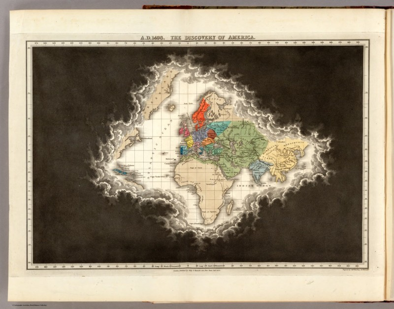 A.D. 1498. The Discovery of America, in An Historical Atlas; in a Series of Maps of the World as Known at Different Periods; Constructed upon an Uniform Scale, and Coloured According to the Political Changes of Each Period … Edward Quin. London: 1830