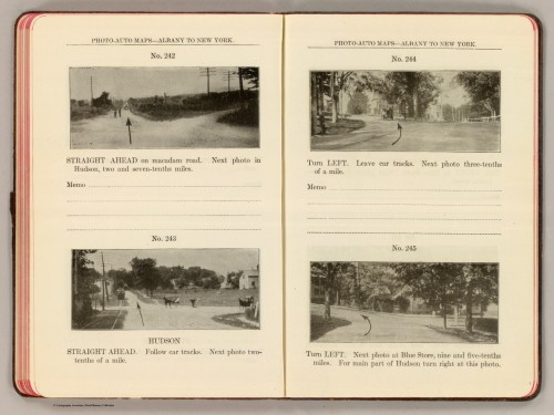 Photo-auto maps–Albany to New York. No. 745,744, 743, and 742, in Photo-Auto Maps. Photographs of Every Turn, Together with a Topographical Outline of Road Showing Railroad Crossings, Bridges, School Houses and All Landmarks with Accurate Distances Between. Gardner S. Chapin; Rand McNally and Company; Arthur H. Schumacher. Chicago: 1907