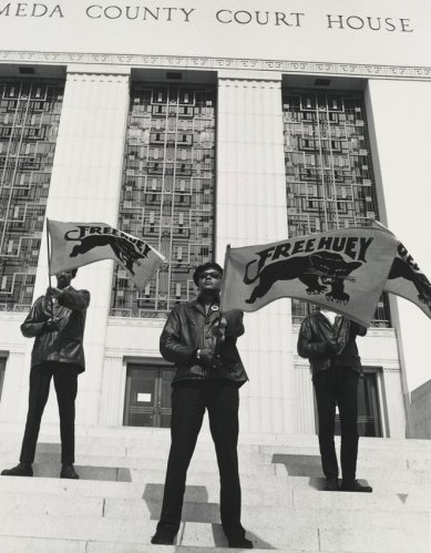 Pirkle Jones, Black Panther demonstration in front of the Alameda County Court House, Oakland, California, during Huey Newton's trial, July 30, 1968, from The Vanguard: A Photographic Essay on the Black Panthers, 1968