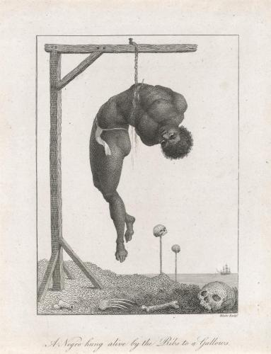 William Blake. A Negro hung alive by the Ribs to a Gallows, 1792.