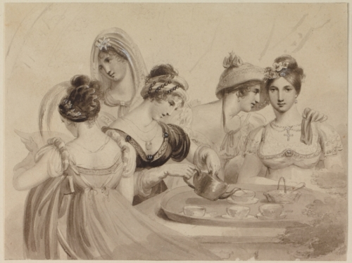 Henry Corbould. Fashionable Women Pouring Tea, c. 1805.