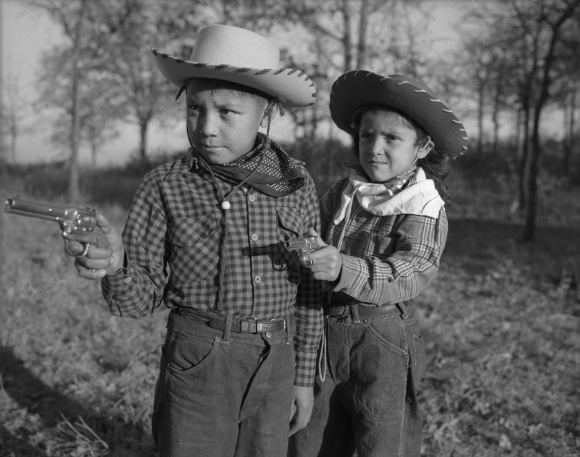 "Robert ""Corky"" and Linda Poolaw (Kiowa/Delaware), dressed up and posed for the photo by their father, Horace. Anadarko, Oklahoma, ca. 1947. © 2014 Estate of Horace Poolaw"