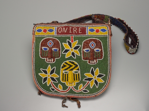 Yoruba artist Ifa Divination Bag (apo ileke), 20th century Colored beads, cloth, and leather bag: h. 25.2 cm., w. 26.9 cm., d. 2.0 cm. (9 15/16 x 10 9/16 x 13/16 in.) strap: l. 94.0 cm. (37 in.) Bequest of John B. Elliott, Class of 1951 Place made: Nigeria 1998-733
