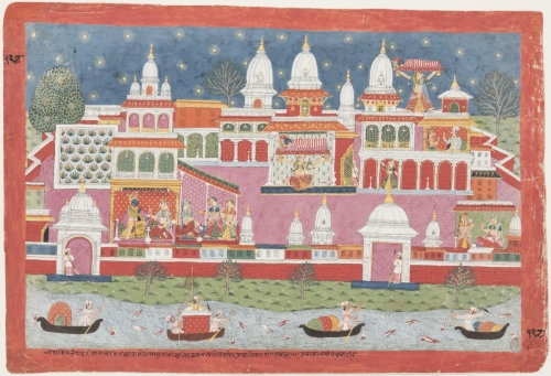 Aniruddha Is Abducted by Usha's Handmaiden, Nepal, ca. 1800. Opaque watercolor and gold on paper, folio: 37.6 × 55 cm; painting: 33 × 50 cm. The San Diego Museum of Art, Edwin Binney 3rd Collection