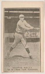 George Kelly, 1st Base, New York Nationals, from the American Caramels Baseball Players series (E122) for the American Caramel Company http://www.metmuseum.org/art/collection/search/718360