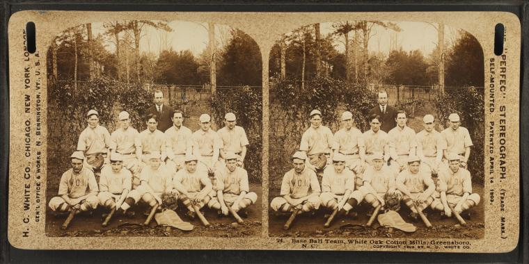 Baseball team, White Oak Cotton Mills. Greensboro, N. C. https://digitalcollections.nypl.org/items/510d47e0-9912-a3d9-e040-e00a18064a99