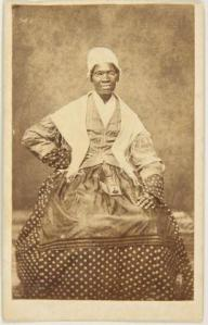 Carte de visite of Sojourner Truth, 1863; albumen print mounted on cardboard; 4 x 2 1/2 in.; BAMPFA, gift of Darcy Grimaldo Grigsby.
