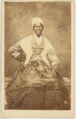 Carte de visite of Sojourner Truth, 1863; albumen print mounted on cardboard; 4 x 2 1/2 in.; BAMPFA, gift of Darcy Grimaldo Grigsby.
