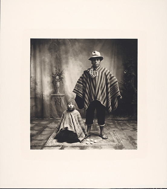 Irving Penn. Cuzco Father and Son with Eggs.