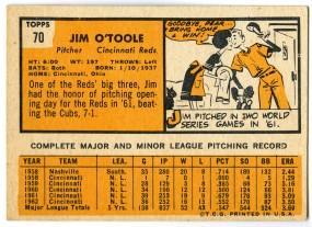Jim O'Toole 1963 Topps