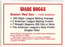 Wade Boggs .352 Bar back