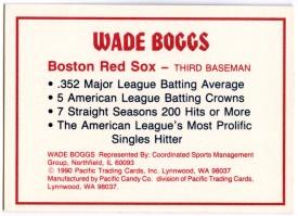 Wade Boggs .352 Bar back
