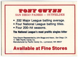 Tony Gwynn Base Hit Candy Bar back