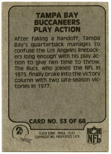 Tampa Bay Play Action 1978 Topps