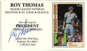 Roy Thomas autographed busines card
