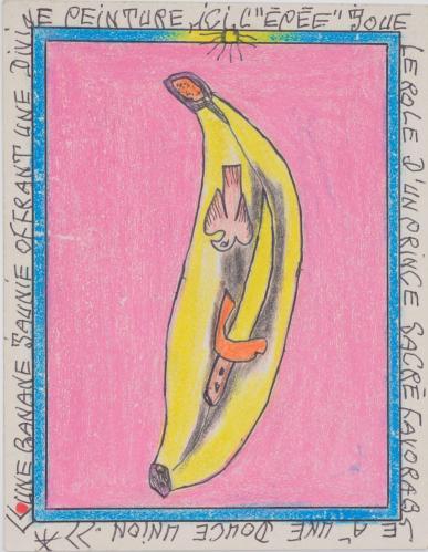 """Frédéric Bruly Bouabré. Une banana jaunie offrant une divine peinture, ici, """"l'épée"""" joue le role d'un prince sacré favorable à une douce union, 2006."""