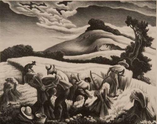 Thomas Hart Benton Cradling Wheat, 1939