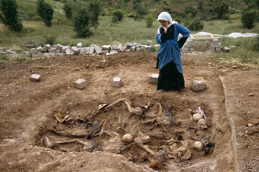 Susan Meiselas. Widow at mass grave found in Koreme, Northern Iraq, 1992.