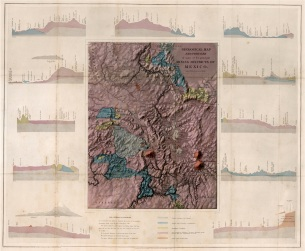 Baron F.W. von Egloffstein, Geological map and profiles of some of the principal mining districts of Mexico, 1864