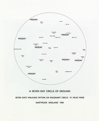 Richard Long, A Seven Day Circle of Ground, Seven Days Walking Within and Imaginary Circle 5 ½ Miles Wide, Dartmoor, England, 1984.
